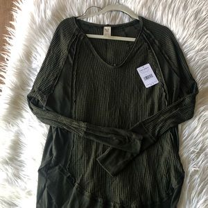 Free People Dark Olive Scoop Neck Top Size L